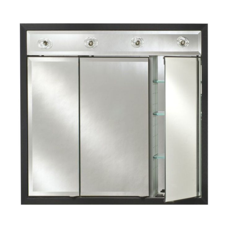 Afina Signature Contemporary Lighted Triple Door 34W X 34H In Recessed Medicine Cabinet