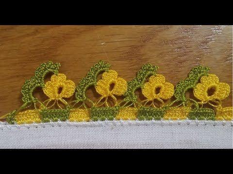 Basit Sıralı Çiçekli Oya Modeli - YouTube
