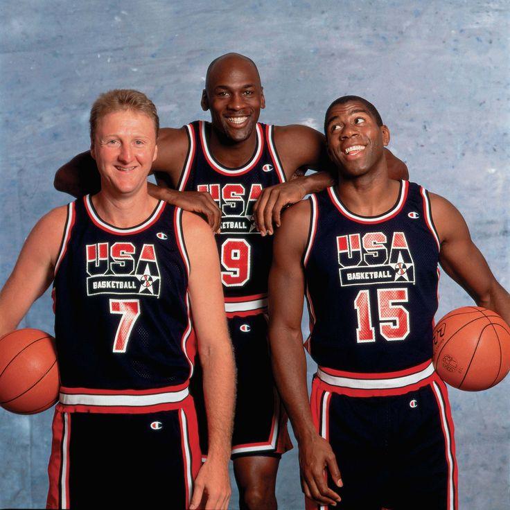 #thedreamteam Larry Bird, Michael Jordan and Magic Johnson