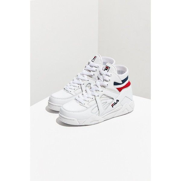 FILA Elastic Back Cage Sneaker ($80) ❤ liked on Polyvore featuring shoes, sneakers, leather sneakers, retro high top sneakers, retro shoes, leather high tops and fila shoes