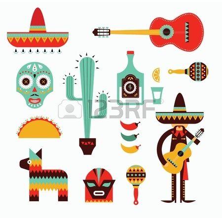 Vecor illustration des différentes icônes stylisées pour le Mexique