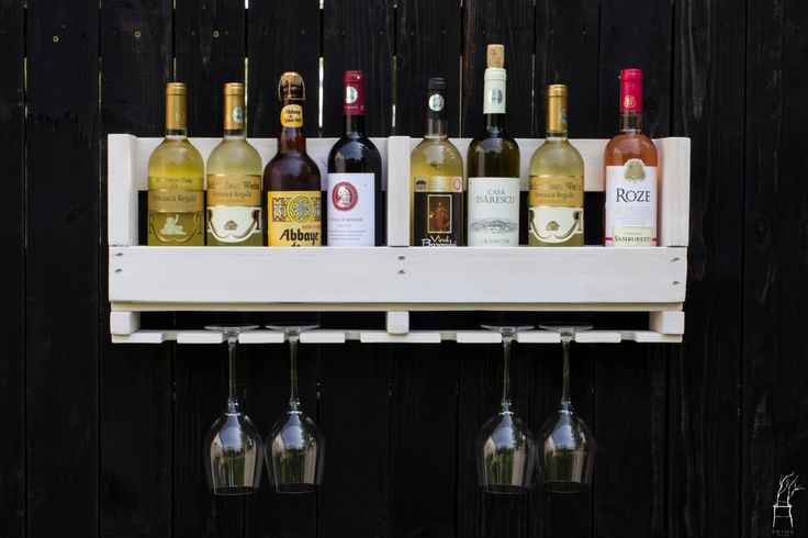 Wall Rustic Wine Rack for bottles and glass of wine. Reclaimed Wood Handmade by PriosTeam on Etsy