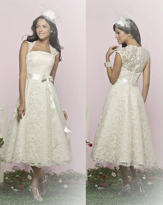 50's Vintage inspired LACE  tea length wedding by 50Timeless, $180.00  Imagine this in red!