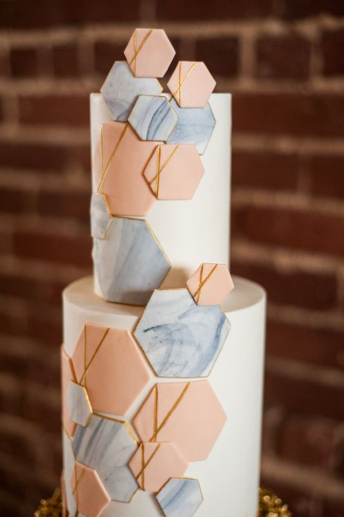 wedding cake. geometric cake. hexagon cake. marble. gold. white. grey. blush. pink. savannah wedding. @Revolution Wedding Tours @YouAreRaven #RevWeds Vintage Soul Cakes
