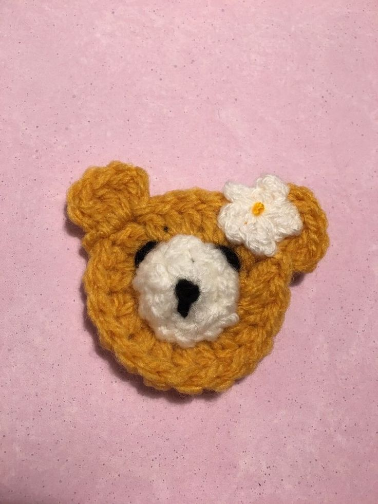 Crochet Teddy Bear Crochet Flower Suitable For Granny Squares   | eBay