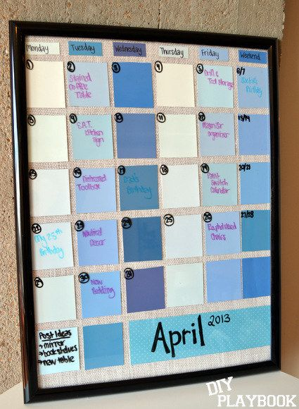 Create a reusable calendar with a frame and paint swatches. | 18 DIY Dollar-Store Projects That'll Transform Your Dorm For Cheap