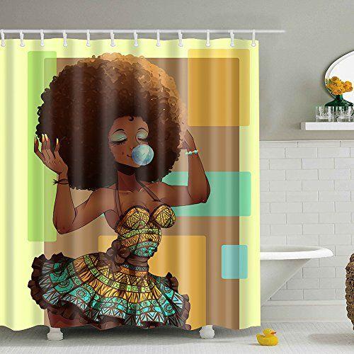 Messagee Custom Waterproof Bathroom African Woman Shower Curtain Polyester Fabric Shower Curtain Size 72 X 72