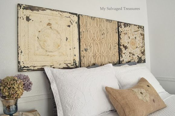 kind of cute way to do a headboard look without the headboard..... @ My Salvaged Treasures