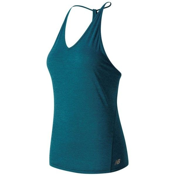 Women's New Balance Free Flow Yoga Tank ($50) ❤ liked on Polyvore featuring activewear, activewear tops, med green, new balance, yoga activewear, yoga sportswear and new balance activewear