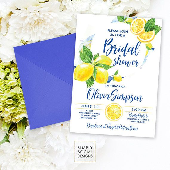 Lemon Bridal Shower Invitation - Mediterranean Invite Lemon Italian Bridal Shower Yellow and Blue Modern Calligraphy Watercolor Printable