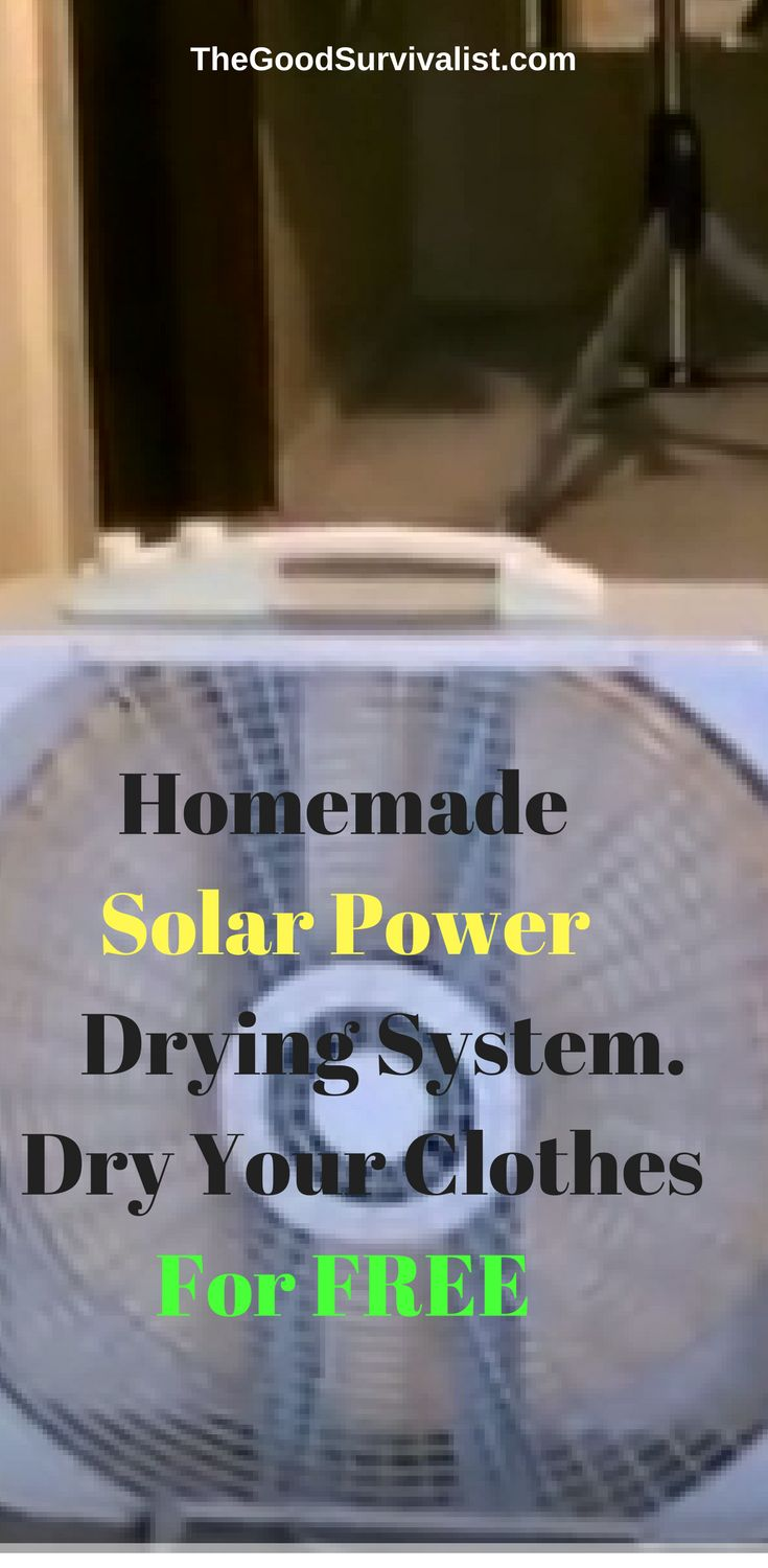 Here's a very easy homemade solar powered system that will allow you to dry your clothes for free once you get it set up. What you'll need is a solar powered fan, and a drying rack.  http://www.thegoodsurvivalist.com/homemade-solar-powered-forced-fan-drying-system-allows-you-to-dry-clothes-for-free/