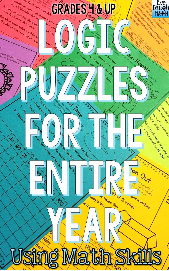 Math Logic Puzzles for the entire year: A great holiday math activity or enrichment option for early finishers! 60 Math Logic Puzzles included for Halloween, Fall, Thanksgiving, Christmas, Winter, Valentine's Day, St. Patrick's Day, Easter, Spring, End of School Year, and Summer!