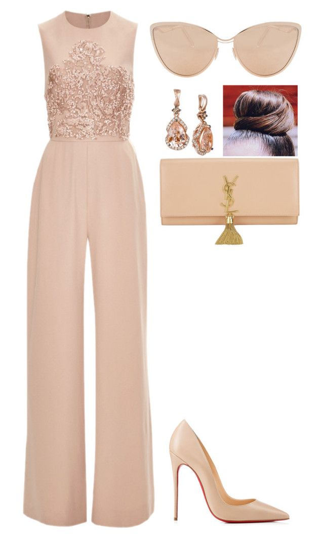 """""""Soft colors"""" by amoney-1 ❤ liked on Polyvore featuring Elie Saab, Christian Louboutin, LE VIAN, Yves Saint Laurent and Cutler and Gross"""