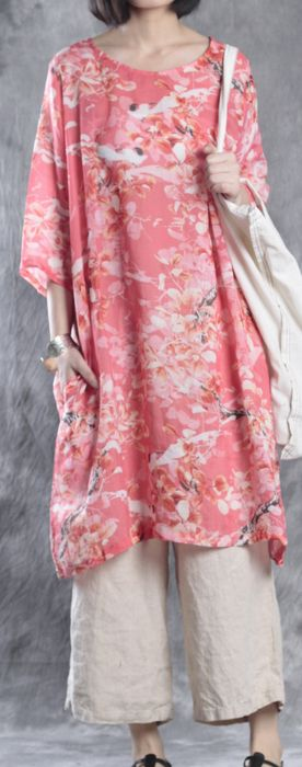 red print baggy linen dresses plus size casual mid dress