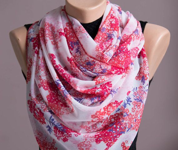 Red Flowers Summer Scarf,Spring Scarf,Infinity Scarf,Chiffon Scarf,Lightweight,Scarves For Women,Fashion Accessories,Womens Scarves,Gift