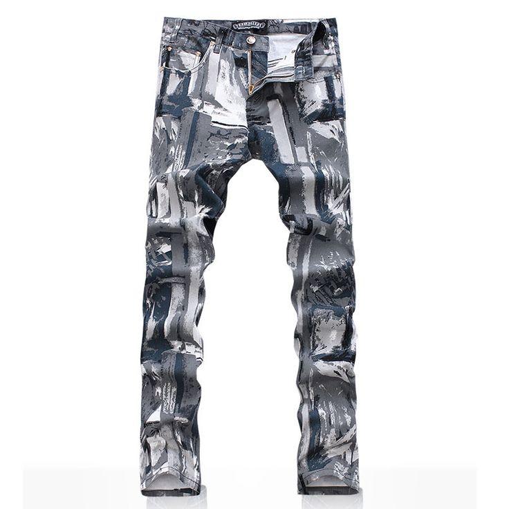 Мужская камуфляж джинсовые брюки мужской мода высокое качество печать джинсы цветной рисунок длинные брюки бесплатная доставка