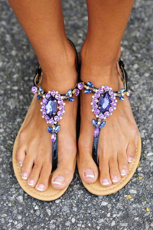 Jeweled sandals, must have sandals! I wish there was a link to where you can buy them though.