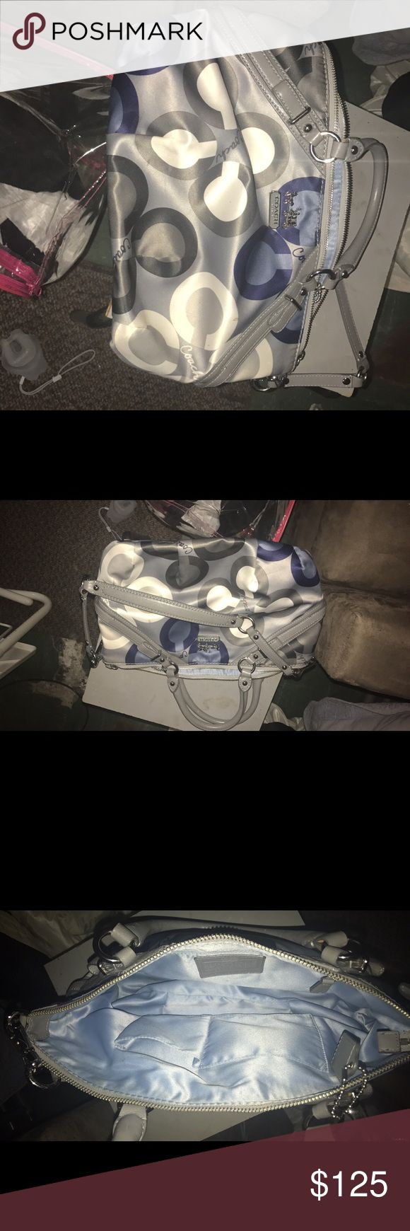 Coach tote Blue gray and white tote used once to small for all my stuff ! Best offer Coach Bags Totes