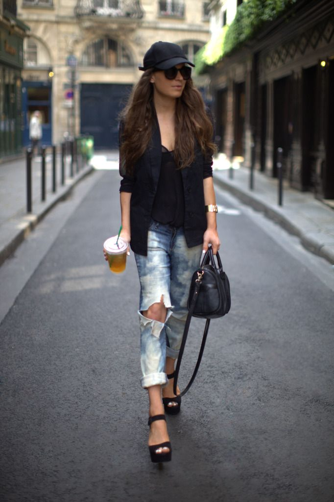 sheer and ripped: Street Fashion, Baseball Cap, Street Style, Black Heels, Fashion Inspiration, Boyfriends Jeans, Sheer Blouses, Black Sheer, Sheer Sleeve