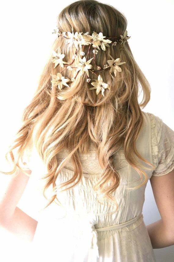 Bridal crown, flower head wreath, wedding hair accessory, woodland hair piece, Hair Wreath, Circlet, Ivory, Cream, Gold, headpiece - ATHENA❤️