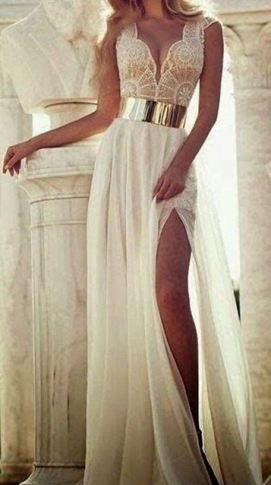 White Patchwork Lace Plunge Side Slits Dress