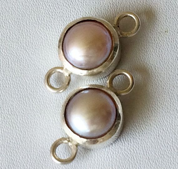 Light Pink Pearl Connector Matched Pairs 9.5mm by gemsforjewels