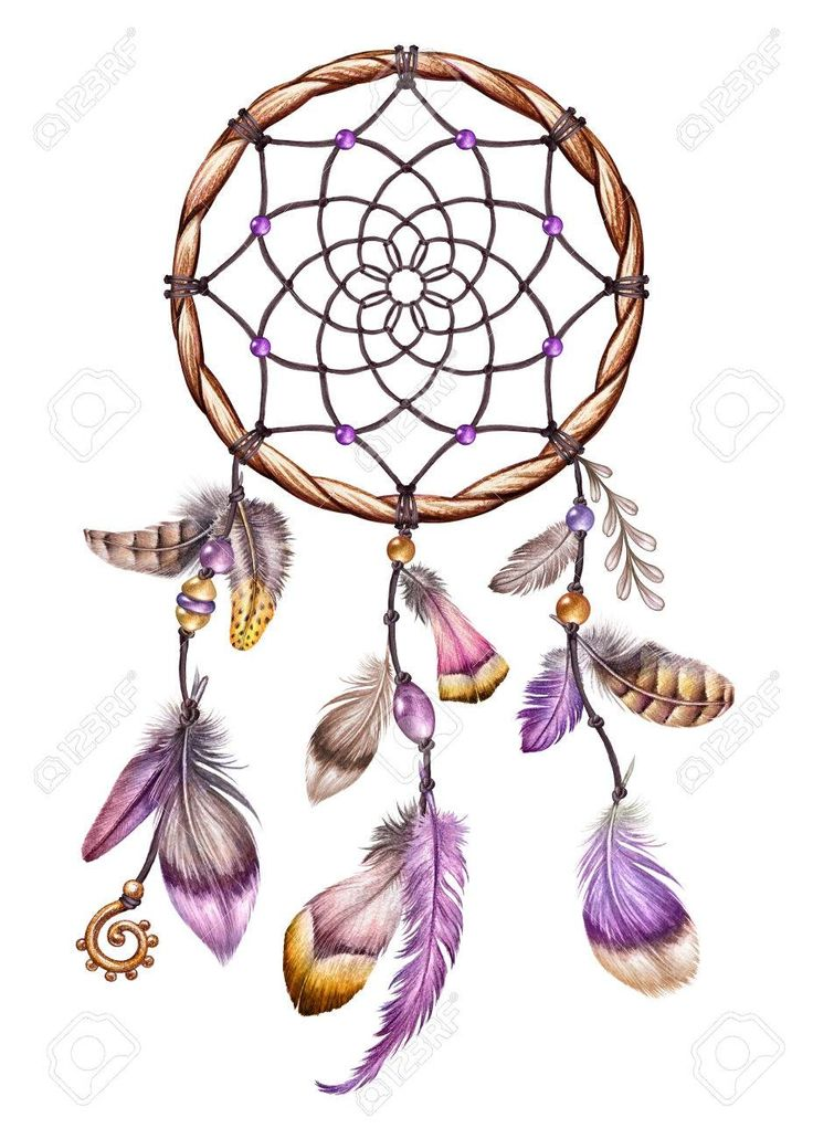 watercolor boho illustration, pink feather, ethnic, tribal dream catcher, easter clip art
