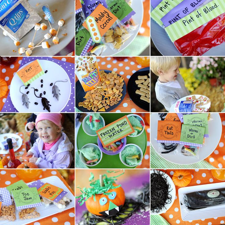 Some grossly awesome ideas for Halloween party treats. The kids would love these.