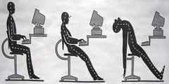 ergonomics are the way you sit in the chair while searching the internet and safety of important body parts such as the eyes .This branch also emphisizes the potential risk and dangers on the internet when using online websites such as hackers and pedophiles. it also includes how to hold the mouse properly