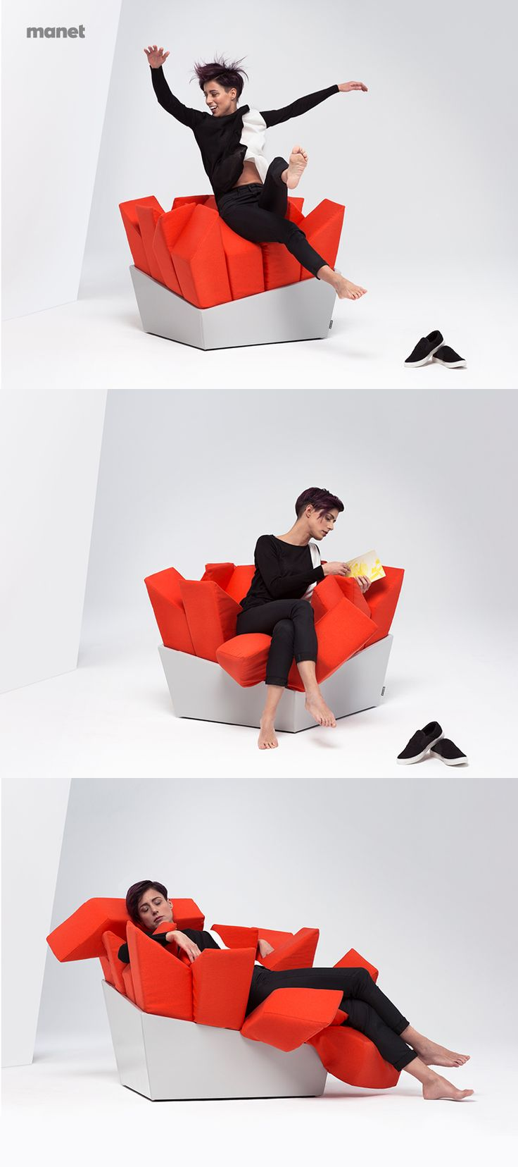 MANET Easy Chair MANET is thought to give you the feeling of a soft embrace, providing you with the maximum freedom of movement at the same time.  Jump in, make it your destination for a good reading time or spread its pillows under your body before taking a nap.
