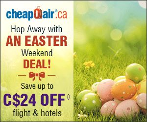 Hop Away with an Easter Weekend Deal! Save up to C$24 off flight & hotels with promo code ESTR24 Book Now!