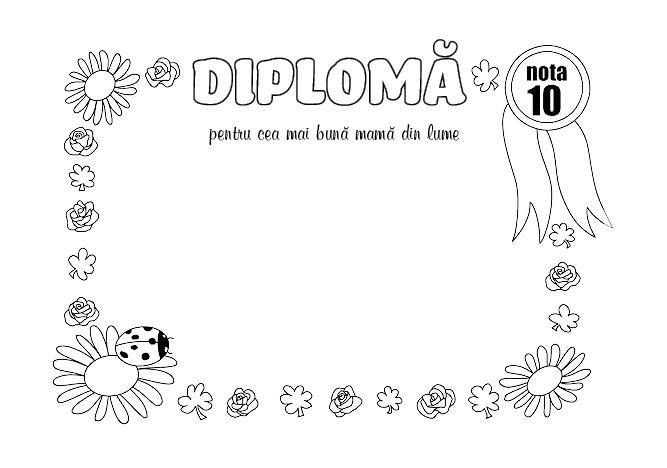 Diploma pentru cea mai buna mama