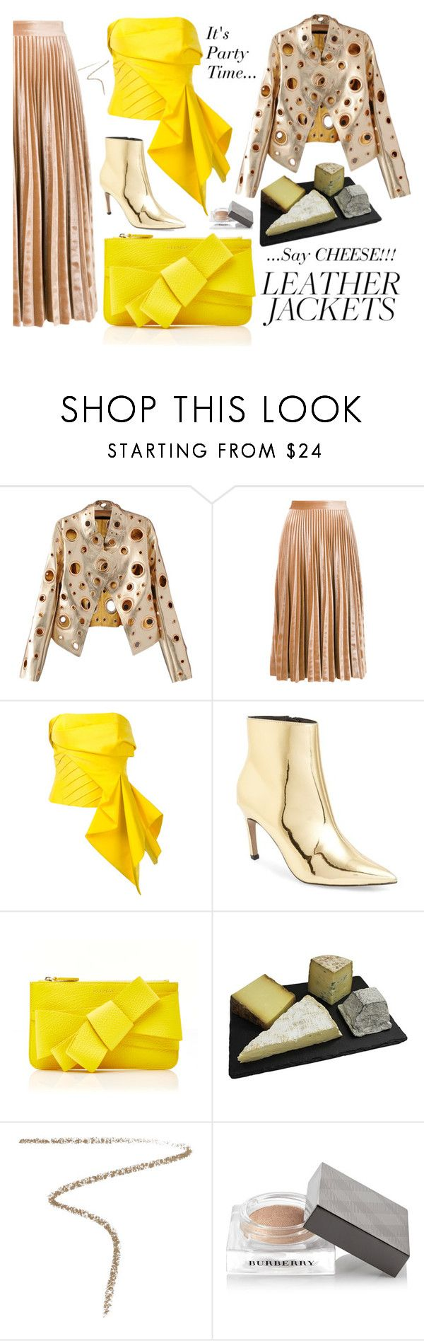 """Say CHEESE!!! Leather Jacket"" by victoria-styling ❤ liked on Polyvore featuring WithChic, MSGM, Rubin Singer, Topshop, Delpozo and Burberry"