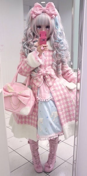 harajuku - adorable!  I love the pink and her hair color