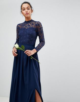 ab161a6cba Club L High Neck Crochet Lace Maxi Dress With Long Sleeves