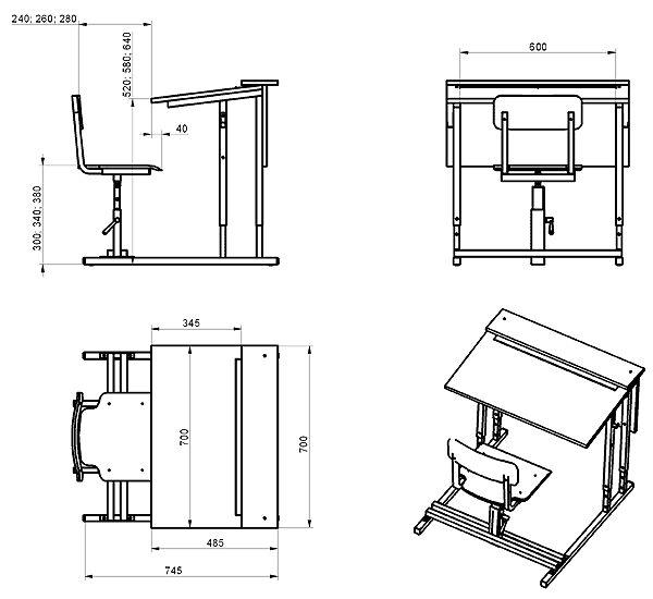 Габаритные размеры парты ПРВН-1п – парта с полкой и регулировкой высоты и наклона крышки стола, высоты и положения стульев