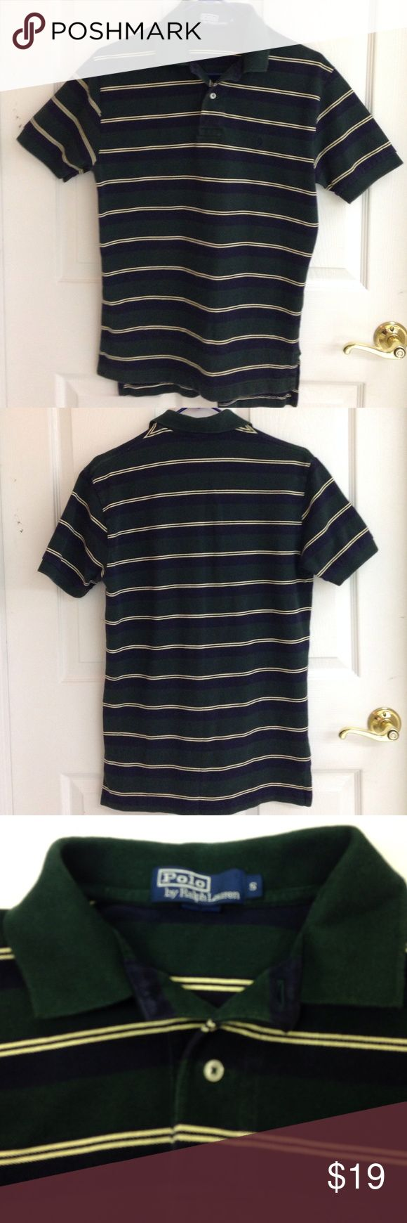 POLO by Ralph Lauren Polo Shirt Polo by Ralph Lauren Striped polo shirt. Green, navy blue, cream. 100% cotton. In very good pre used condition. Polo by Ralph Lauren Shirts Polos
