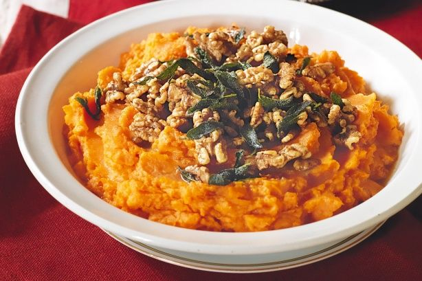Sweet potato mash with burnt sage butter and walnuts