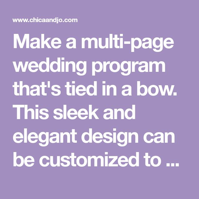 make a multi page wedding program that s tied in a bow this sleek