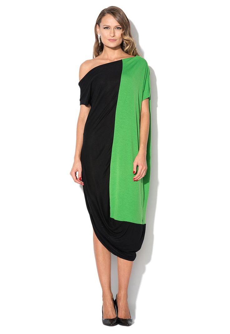 Rochie negru cu verde cu decolteu pe umar - Maiocci