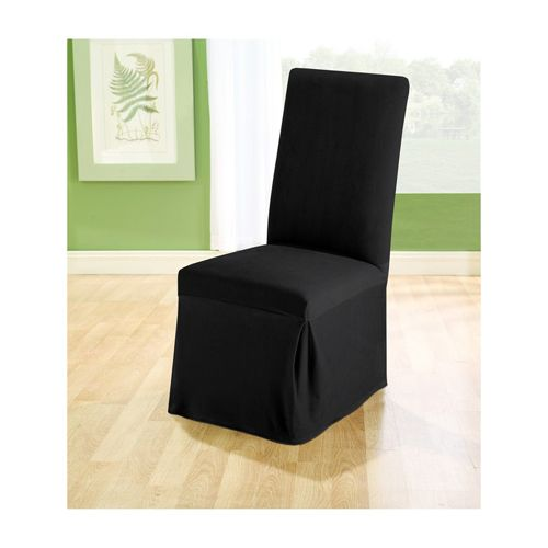Black Stretch Pique Long Dining Room Chair Slipcover Sure Fit Slipcovers Home Accessories