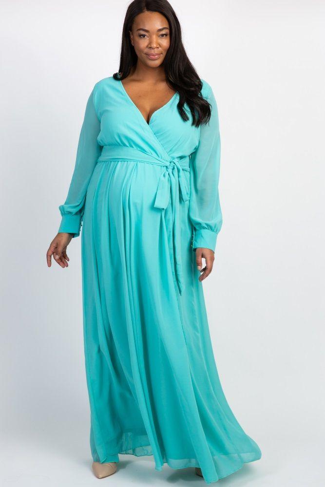 c01ef44b6e711 Mint Green Chiffon Long Sleeve Pleated Plus Maternity Maxi Dress ...