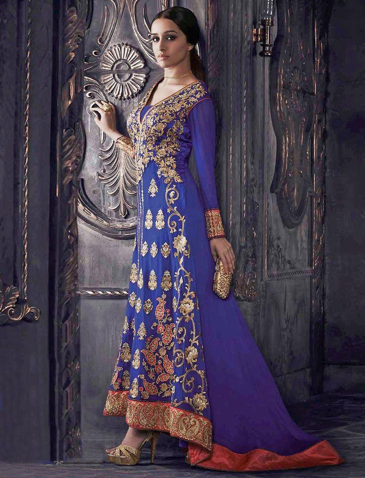 Bollywood Sharddha Kapoor-Royal Blue Heavy Embroidered Wedding Anarkali Suit