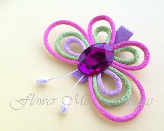 Butterfly clip for hair, hot pink, green, lavender. $6.00, via Etsy.