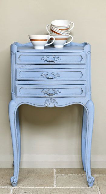 Louis Blue Chalk Paint® decorative paint by Annie Sloan on a sweet little French side table - very Rococo!