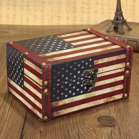 Wooden Vintage Jewelry Box - Rebel Style Shop - Store your most precious accessories in this eco-friendly vintage wooden jewelry box. The antiquated chest features carved technics with a classic American flag decoration, finished with a dated metal lock giving the décor piece a rustic feel.