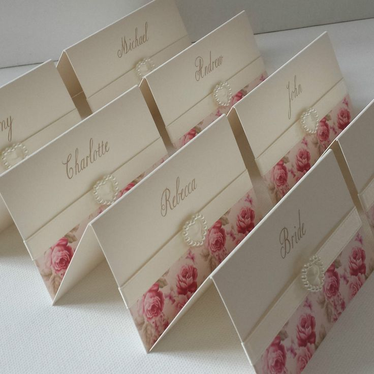 printable wedding place cards vintage%0A VINTAGE PINK ROSE PERSONALISED PEARL HEART WEDDING RECEPTION NAME PLACE  CARDS   eBay
