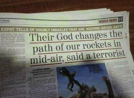"""The greatest quote from Hamas you will ever hear in your life - """"Their God Changes The Path Of Our Rockets In Mid-Air, Said A Terrorist"""" - (Yahweh is keeping Israel Safe)"""