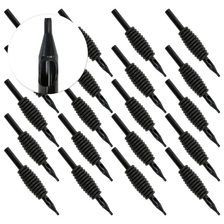 """20 Disposable Black Tattoo Tubes with 1"""" Grip"""