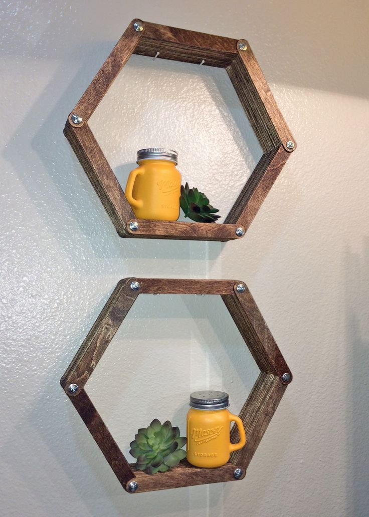 Completed 05/16!  Hexagon shelves for newly remodeled bath (made from tongue depressors)
